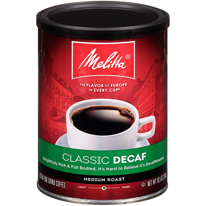 Melitta Classic Decaf Coffee, Medium Roast, Extra Fine Grind, 10.5 Ounce Can (Pack of 4)