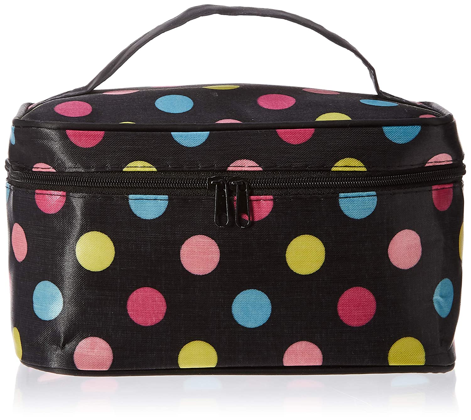 Makeup Bag Travel Bag with Quality Zipper Single Layer Multifunctional Cosmetics Bag Colorful Dot Makeup Organizer Case Holder With Mirror for Women Ladies Girl