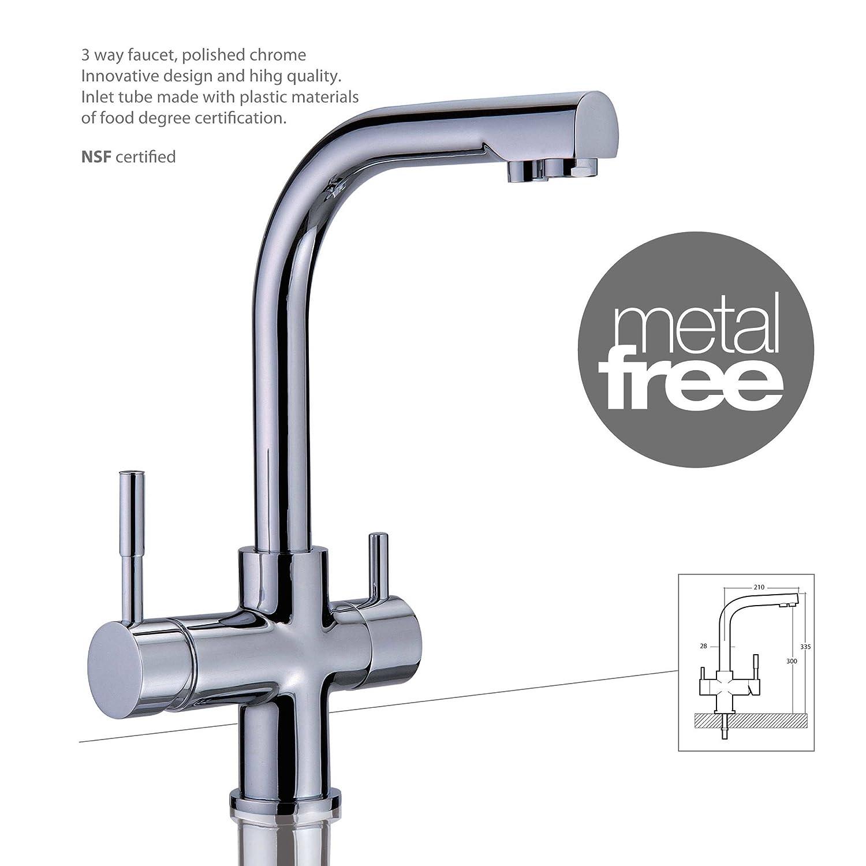 Drei-Wege-Wasserhahn MERCURY METAL FREE Chrom für kaltes, heißes und ...