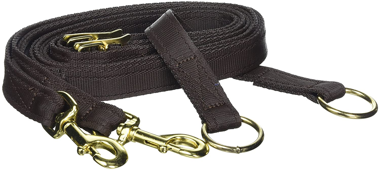 William Hunter Equestrian Padded Anti-Grazing Grass Reins With Trigger Clips In Brown