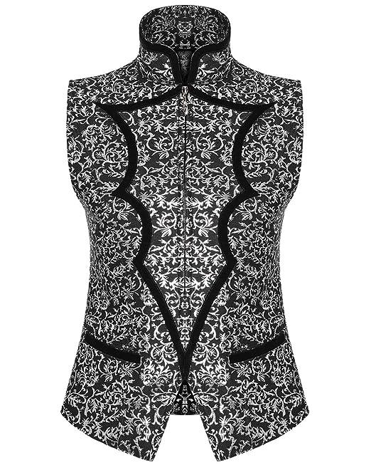 Punk Rave Steampunk Waistcoat Vest Grey Faux Leather Gothic Victorian Gentleman
