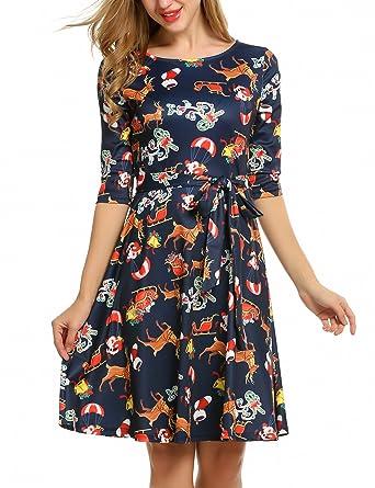 Beyove Damen 3/4 Arm Weihnachten Kleid Rockabilly Kleid Swing Kleid ...