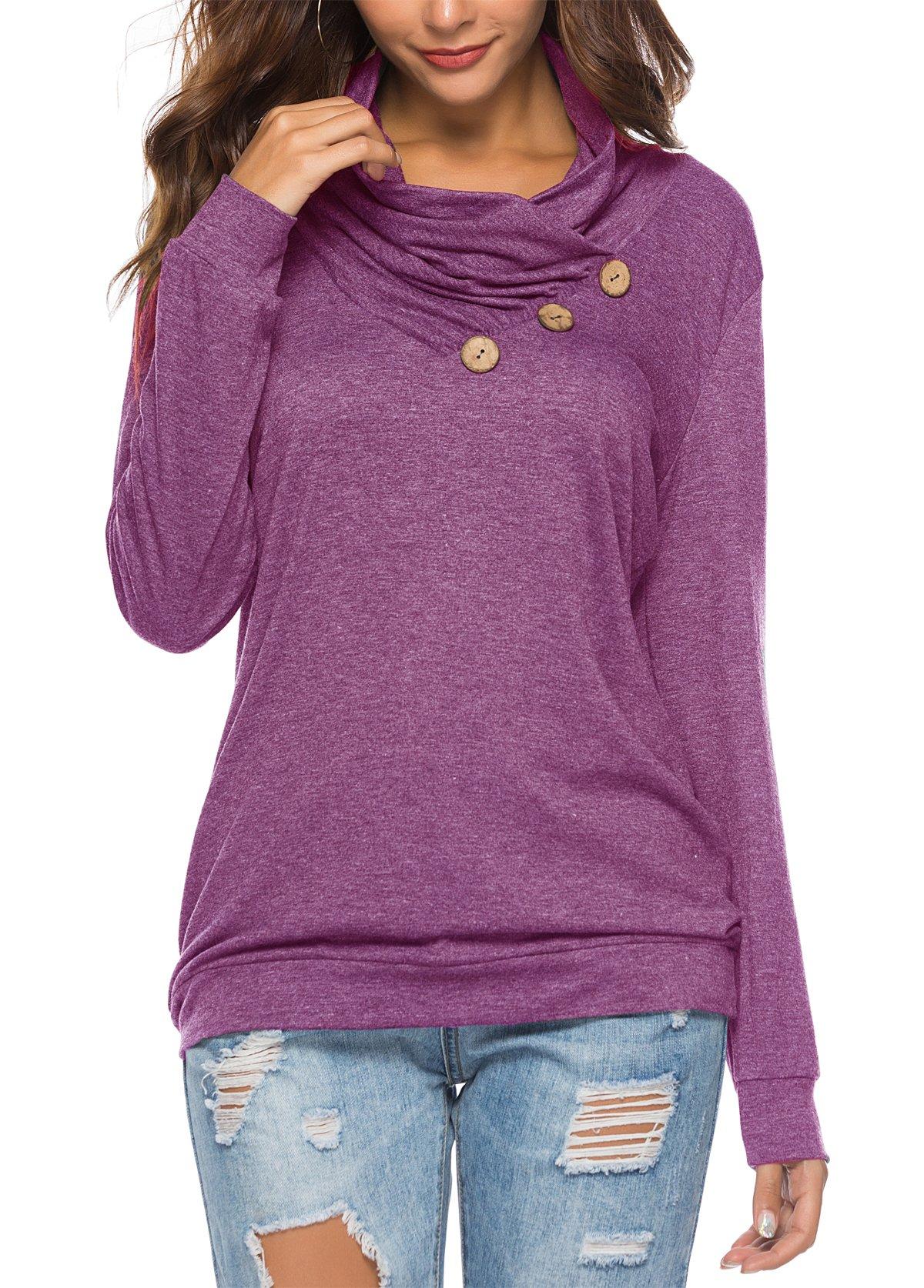 KISSMODA Womens Shirts Fashion Slimming Tunic Tops with Button Cowl V Neck WineRed Medium