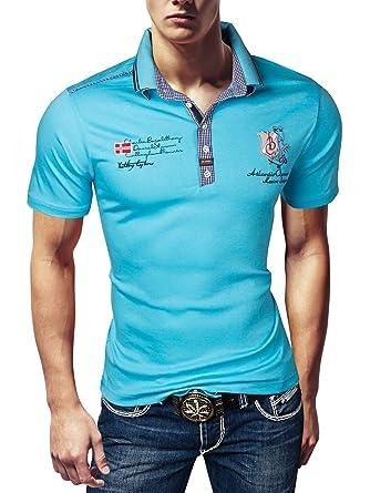 12b1f7ab2a79e3 Bruno Conte Herren T-Shirt Poloshirt Party Doppelkragen VIOLENTO Polo Sommer  Hemd Slim  Amazon.de  Bekleidung