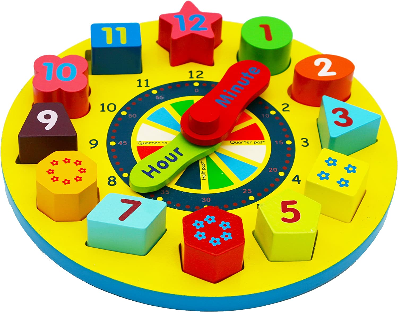 TOWO Juguete de Reloj de Madera educativo con Piezas de números para aprender la hora - Reloj de Rompecabezas para niños - Juegos educativos de clasificación con numeros y formas geometricas.