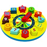 Toys of Wood Oxford Wooden Shape Sorting Clock / Wooden Clock with Numbers and Shapes Sorting Blocks