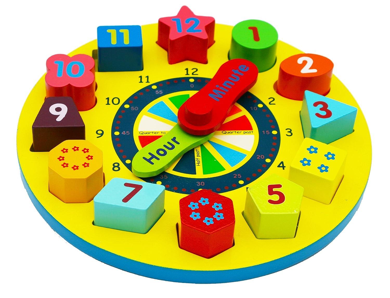 Toys of Wood Oxford Holz Form Sortierung Uhr Holz Uhr mit Zahlen und Formen Bl/öcke Sortier