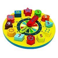 Toys of Wood Oxford forma di ordinamento orologio /orologio legno bambini - insegnamento con i numeri e le forme di ordinamento blocchi