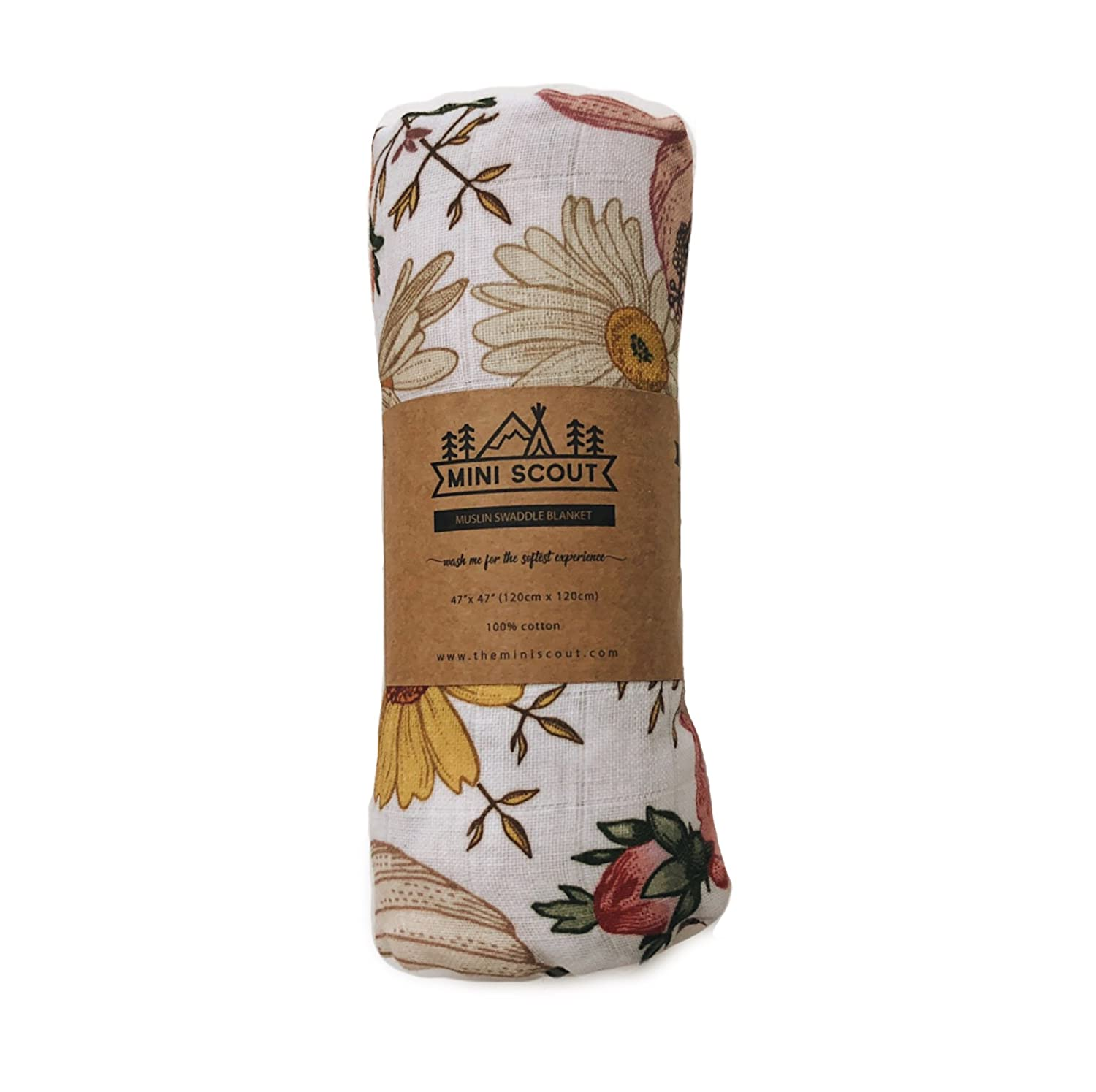 The Mini Scout Muslin Swaddle Blanket for Baby Garden Floral