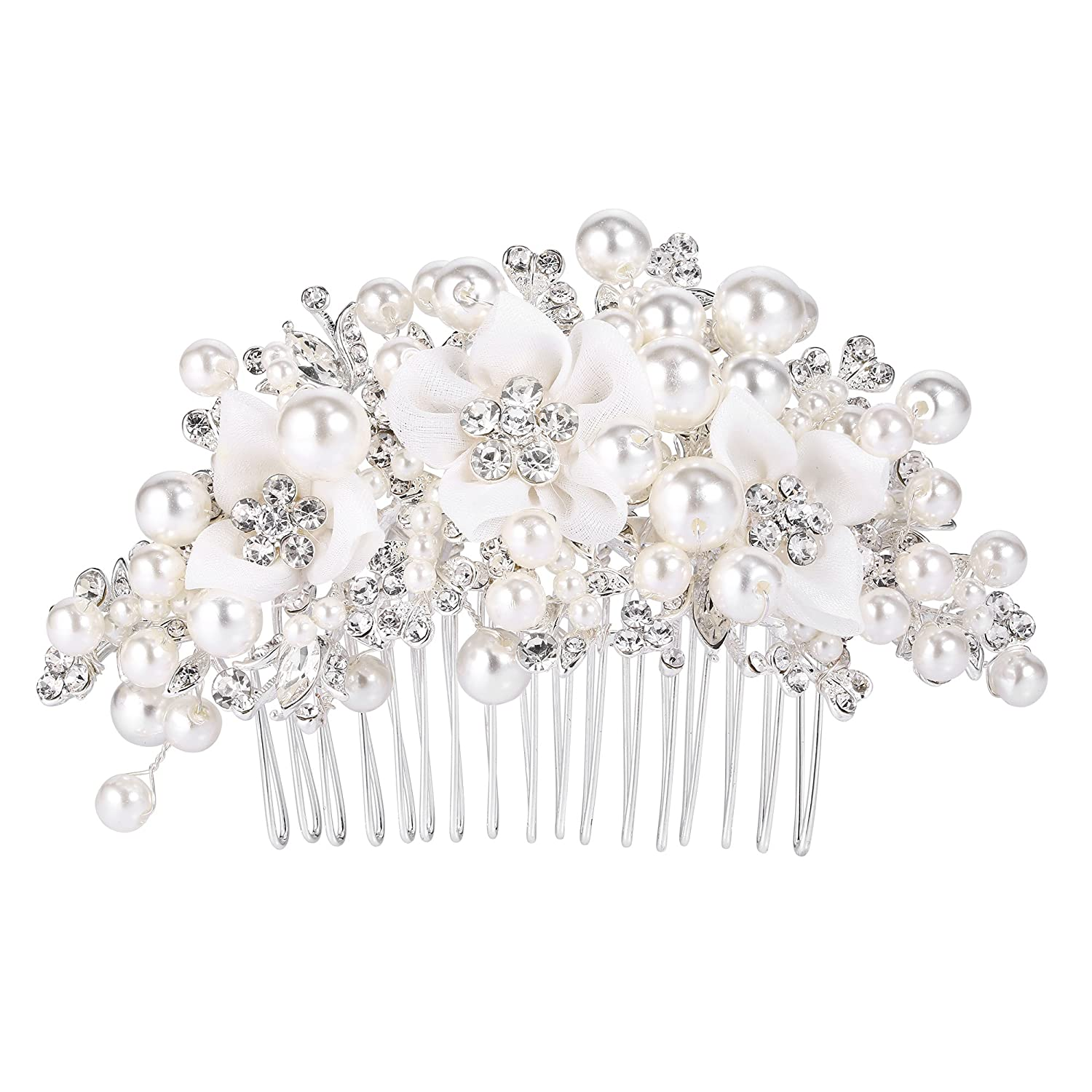 BriLove Women's Wedding Bridal Crystal Cream Simulated Pearl Flower Cluster Beads Hair Comb Clear Silver Tone 12001802-1ca