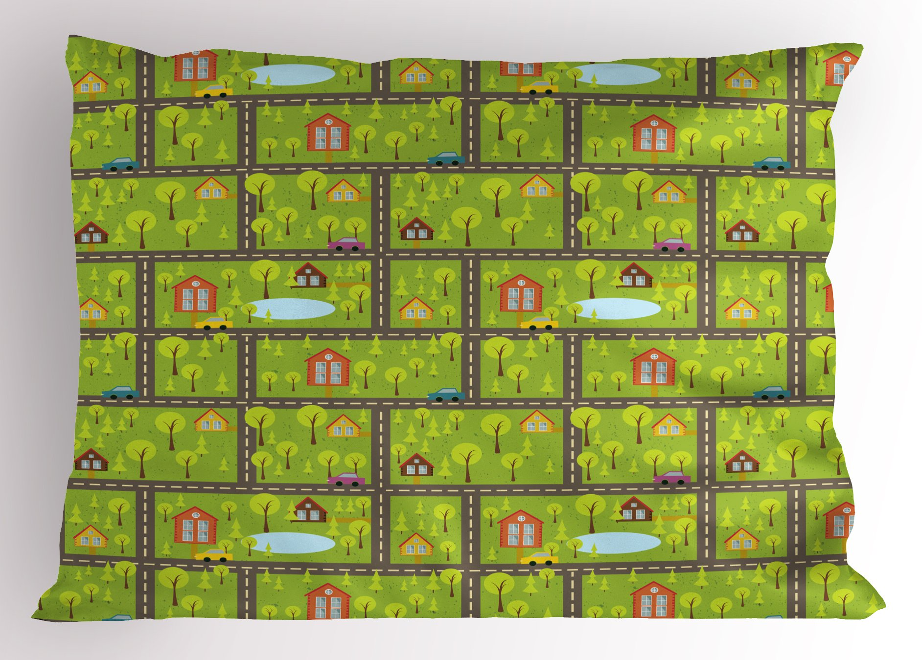 Lunarable Children's City Map Pillow Sham, Country Houses in The Woods Residential Area in The Spring Fir Trees, Decorative Standard Queen Size Printed Pillowcase, 30 X 20 inches, Multicolor