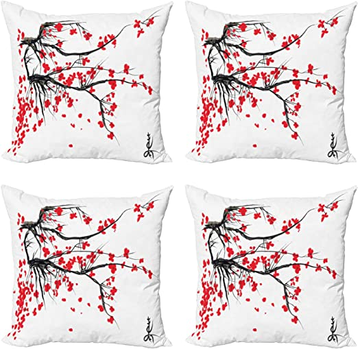 Ambesonne Art Design Cushion Cover Set of 4 for Couch and Bed in 4 Sizes