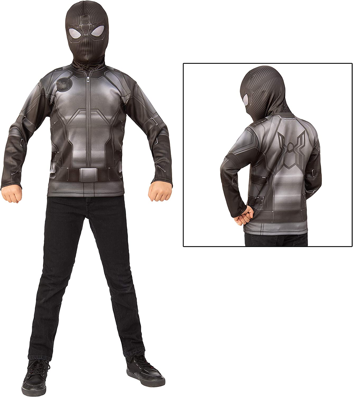 Spider-Man Far from Home: Spider-Man Adult Costume Top (Stealth Black/Gray Suit)