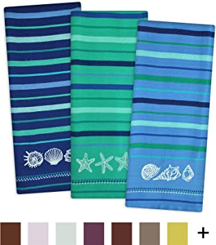DII Cotton Embroidered Blue Sea Dish Towels, 18 X 28u0026quot; Set Of 3,