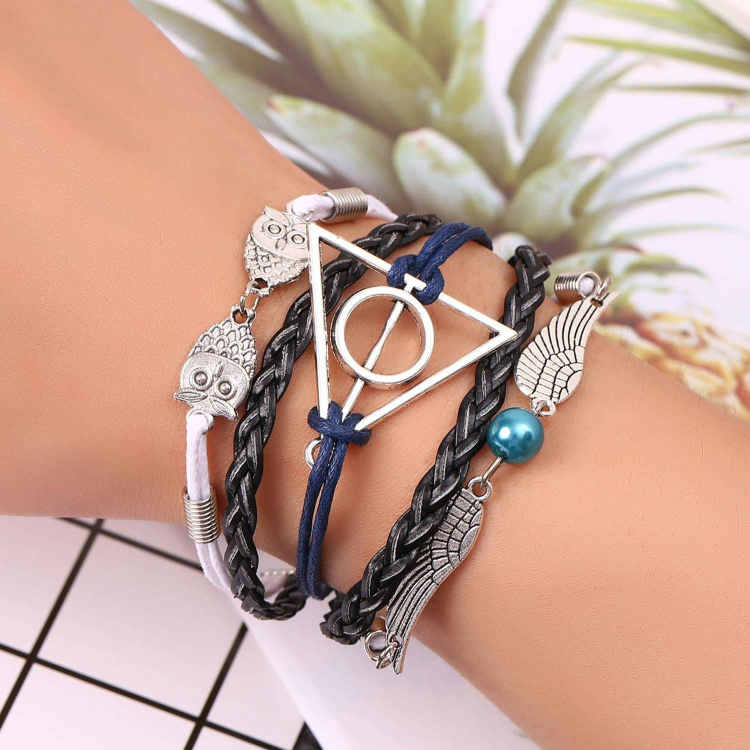 GuGio Charm Bracelet Deathly Hallows Angel Wings Owl Adjustable Wristband for Men Women