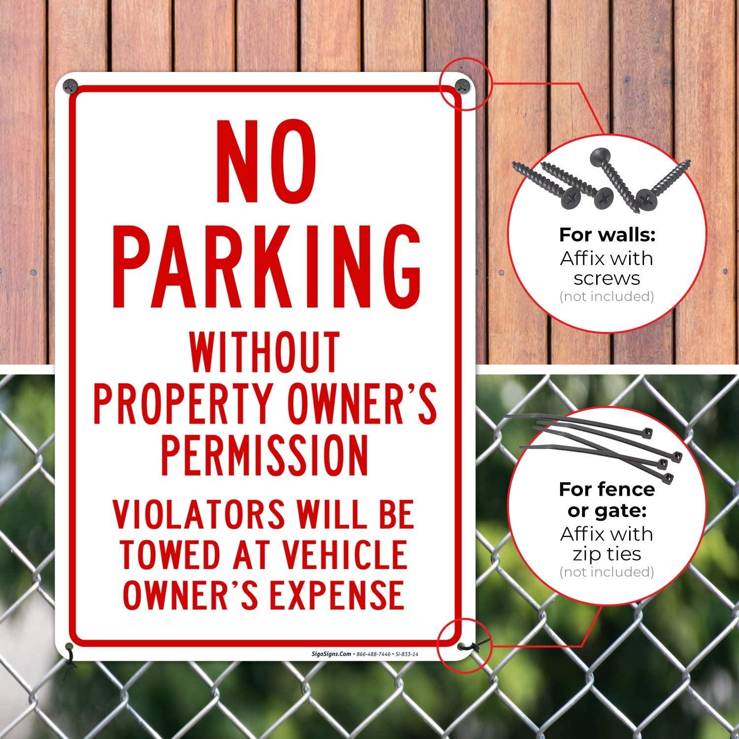 Sigo Signs No Parking Without Property Owners Permission Sign Federal 10 x14 Aluminum for Indoor or Outdoor Use