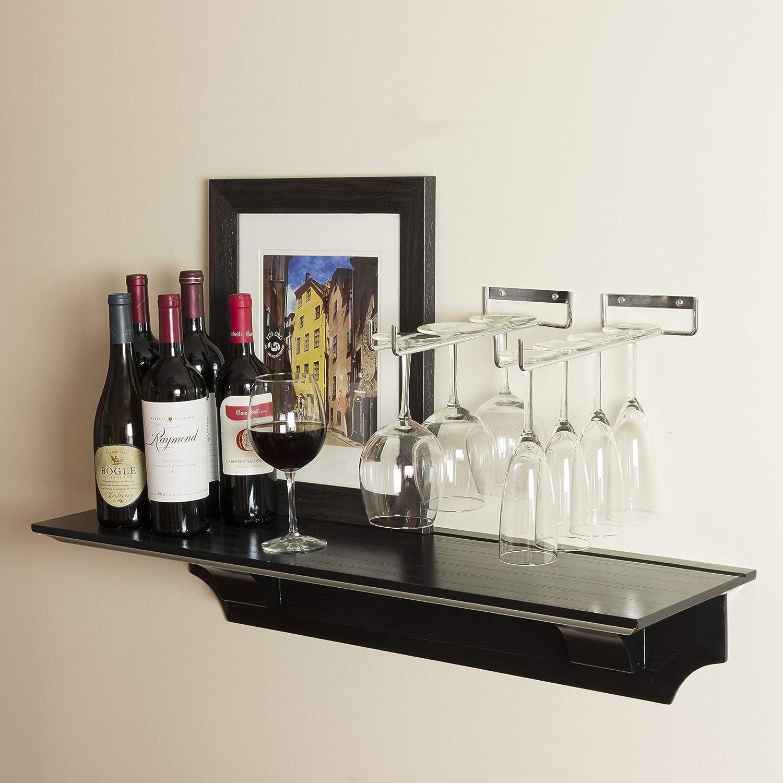 Wallniture Stemware Wine Glass Rack Holder Wall Mount or Under Cabinet Chrome Set of 2