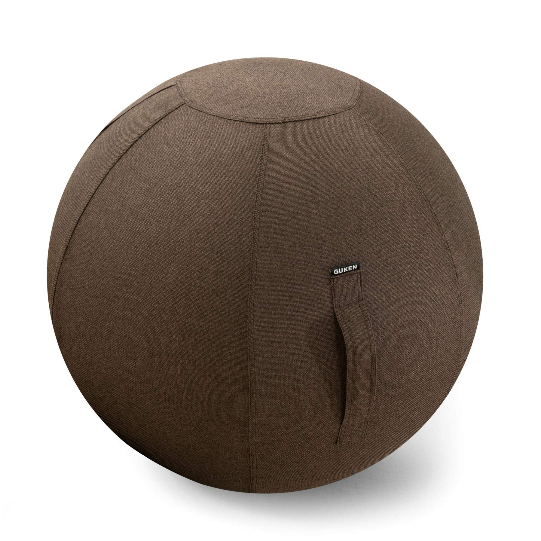 Guken Yoga Ball Cover, Sitting Ball Chair for Office and Home, Lightweight Self-Standing Ergonomic Posture Activating Exercise Ball Solution with Handle & Cover, Classroom & YogaEasy (65CM, Chocolate)