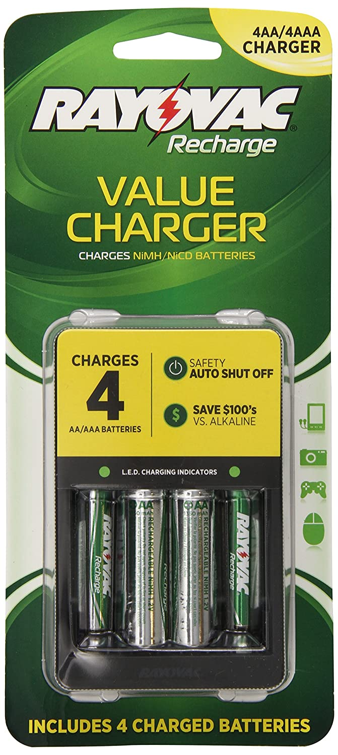 RAYOVAC RVCPS1334B, Value Charger with 2 AAA and 2 AA Ready-To-Use Rechargeable Batteries PS133-4B