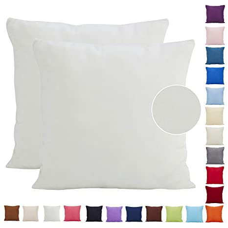 Juego de 2 fundas de cojín, de Dongguandong Comoco®, de ante sintético ligero, para decoración del hogar, poliéster, Blanco, 40 x 40 cm