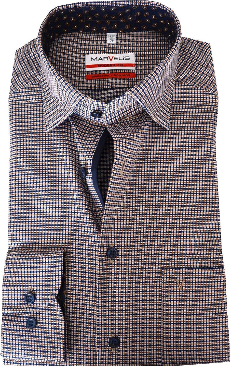 Marvelis Modern Fit Under Button Down cuello no necesita planchado patrón azul algodón puro: Amazon.es: Ropa y accesorios
