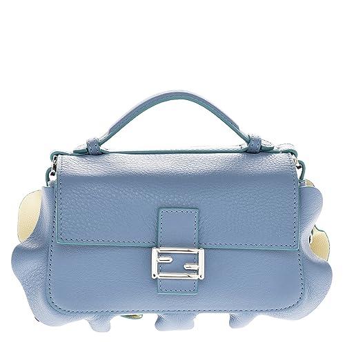 Fendi women s leather shoulder bag original doppia micro baguette blu   Amazon.ca  Shoes   Handbags e901adeebde