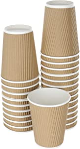 DISPOSABLE COFFEE CUPS 14 OZ SET OF 25   DOUBLED WALLED PAPER CUPS FOR HOT BEVERAGES   INSULATED TO GO HOT CUPS