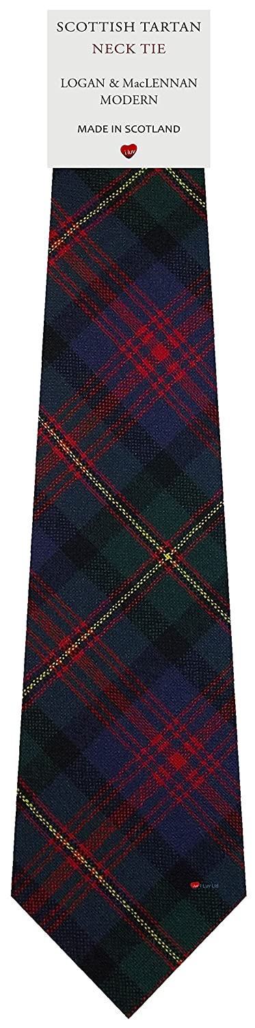 Mens Tie All Wool Made in Scotland Logan and MacLennan Modern Tartan