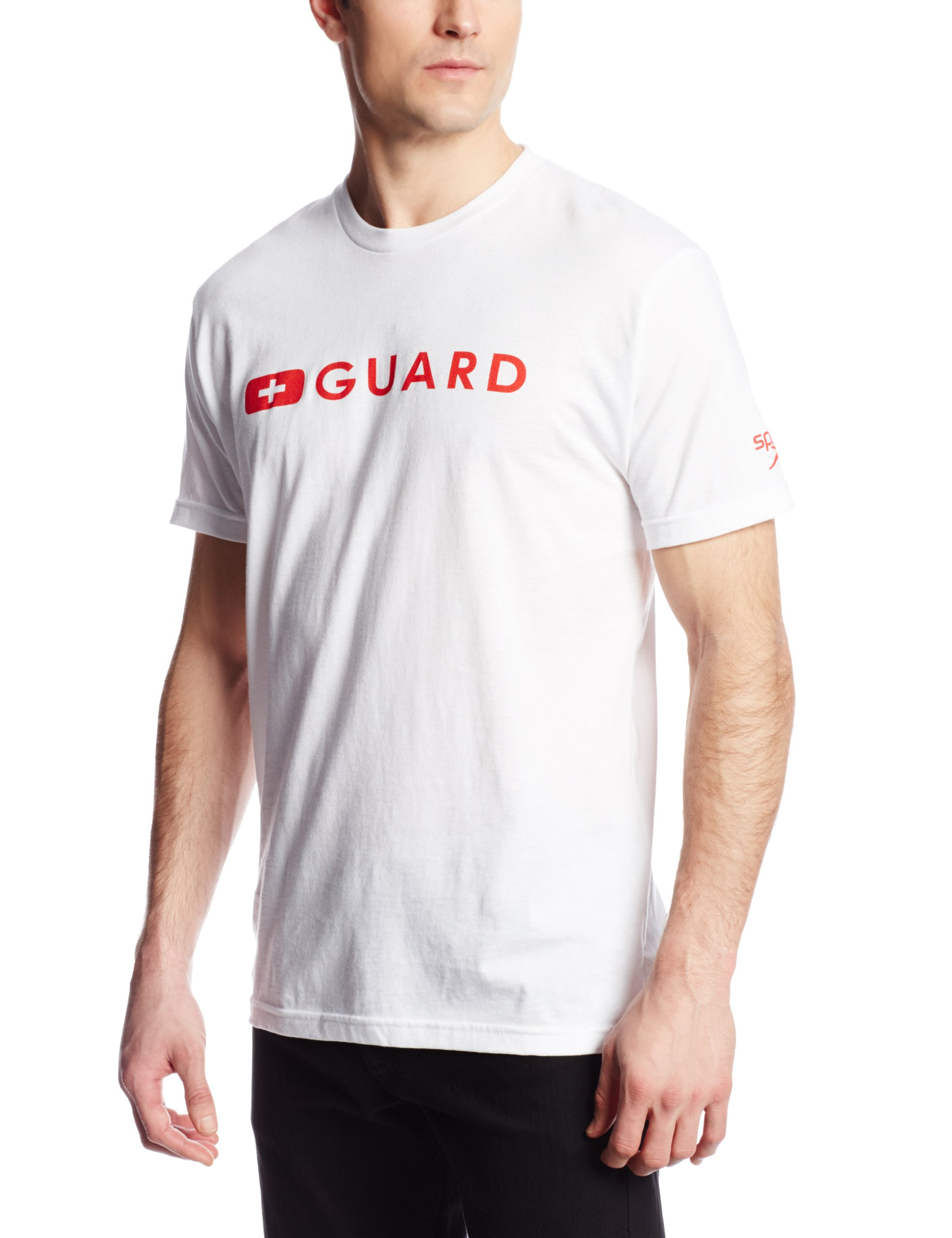 Speedo Men's Guard Short Sleeve Tee Shirt, White, X-Large