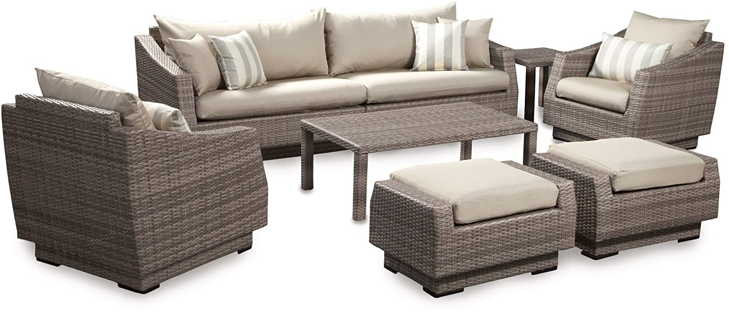 Amazon.com : RST Brands 8 Piece Cannes Sofa And Club Chair Deep Seating  Group Patio Furniture Set, Slate Gray : Garden U0026 Outdoor