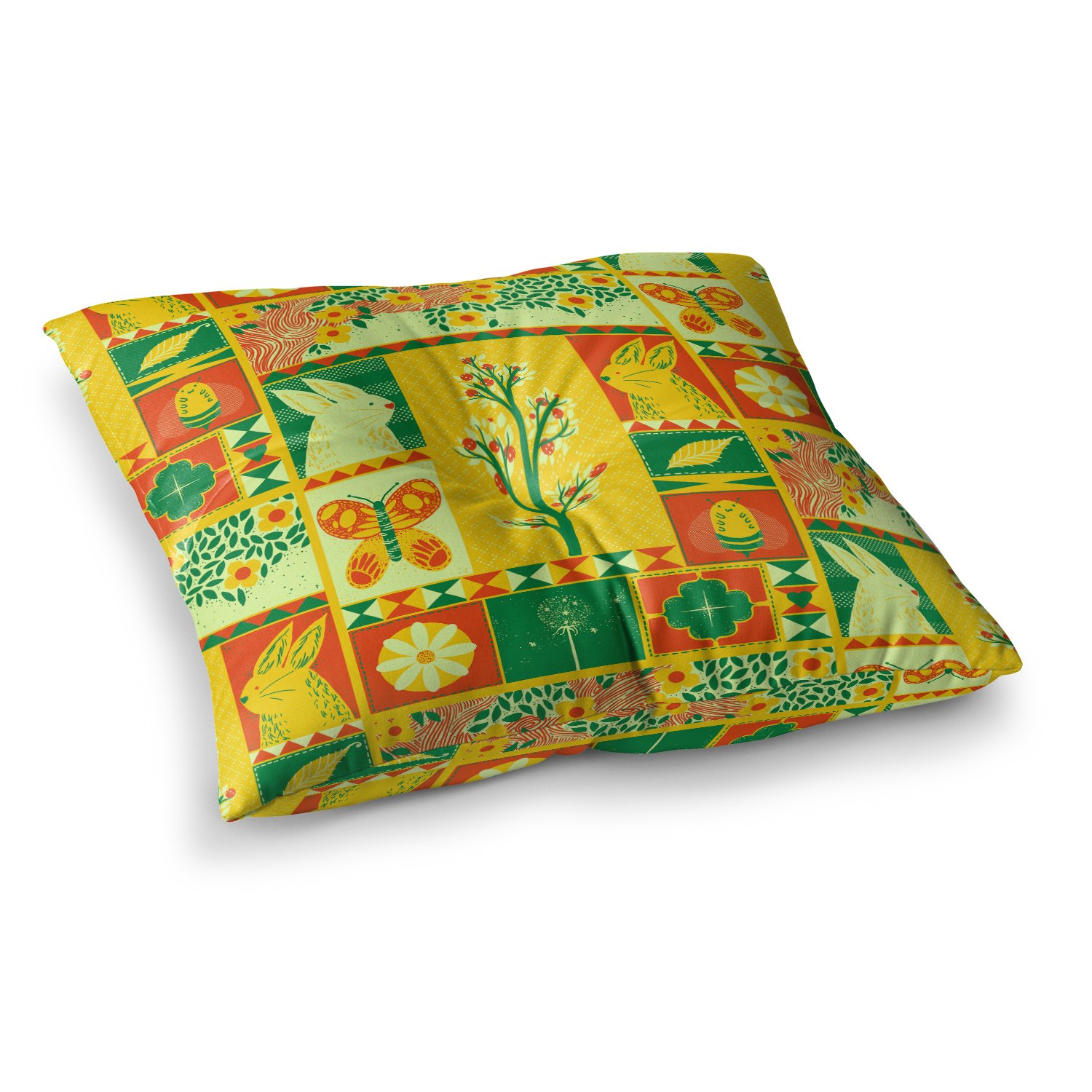 23 x 23 Square Floor Pillow Kess InHouse Tobe Fonseca Spring Yellow Seasonal
