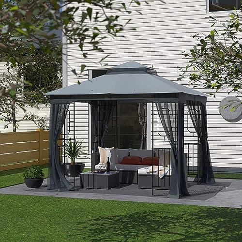 Cloud Mountain Garden Gazebo Polyester Fabric 10 x 10 Patio Backyard Double Roof Vented Gazebo Canopy