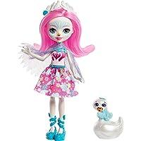 Enchantimals Mini-poupée Saffi Cygne et Figurine Animale Poise, aux cheveux roses avec jupe à motifs en tissu, jouet enfant, FRH38
