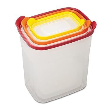 Joseph Joseph 81020 Nest Storage Tall Plastic Food Storage Containers Set with Lids Airtight Microwave Safe, 6-Piece