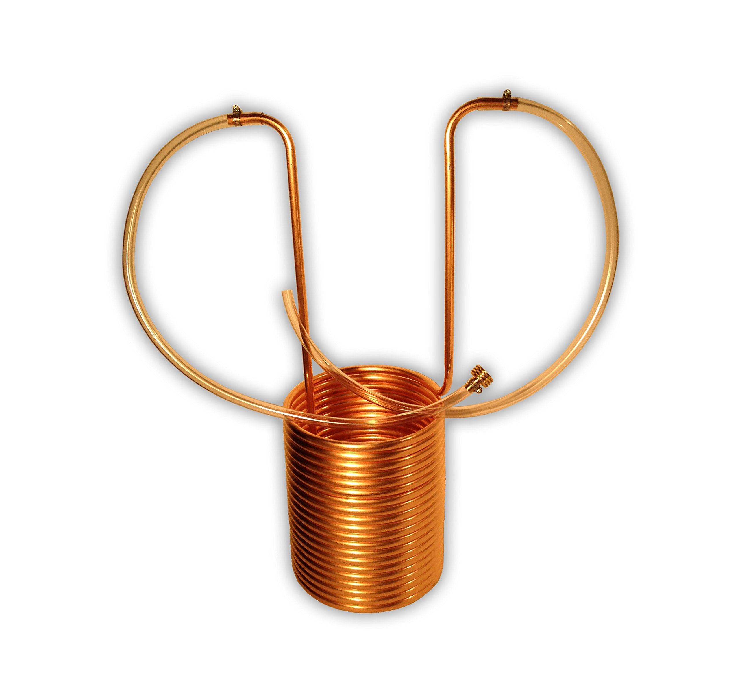 Coldbreak Brewing Equipment CB21250COV Wort Chiller with Vinyl Tubing and Garden Hose Fitting, 50', 1/2'' Keggle Immersion, 0.44'' ID, 0.5'' OD, GHT Female, Copper