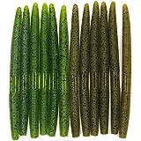 "nawaish Senko Bait Soft Plastic Lures 5"" Senkos 24 Pcs for Wacky Rig Freshwater Fishing Green Pumpkin senko with Black Flake"