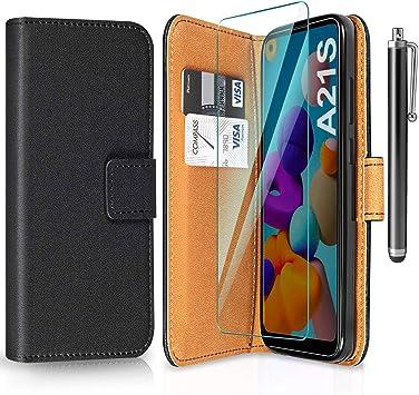 ivencase Funda para Samsung Galaxy A21s + Protector de Pantalla + Pen, Libro Caso Cubierta la Tapa magnética Protector de Billetera Cuero de la PU Carcasa para Samsung Galaxy A21s: Amazon.es: Electrónica