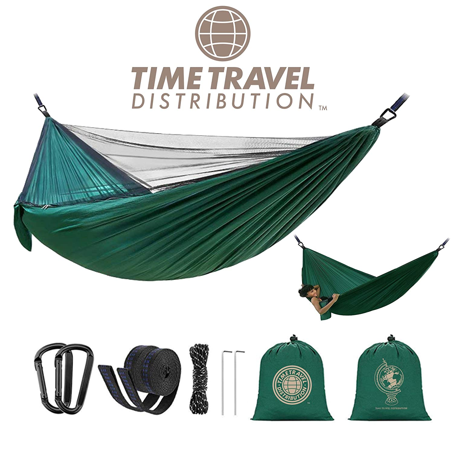 Time Travel Distribution Camping Hammock with Mosquito Net – Outdoor Travel, Hiking, Beach, Backpacking, Parachute Nylon Lightweight, Portable, Easy Assembly, Max Capacity 700lbs