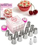 Russian Piping Tips Set 29 pcs - 14 Icing Frosting Nozzles ( 2 Leaf Tips ) + 12 Baking Pastry Bags + 2 Couplers + Gift Box - Cake Cupcake Decorating Supplies Kit