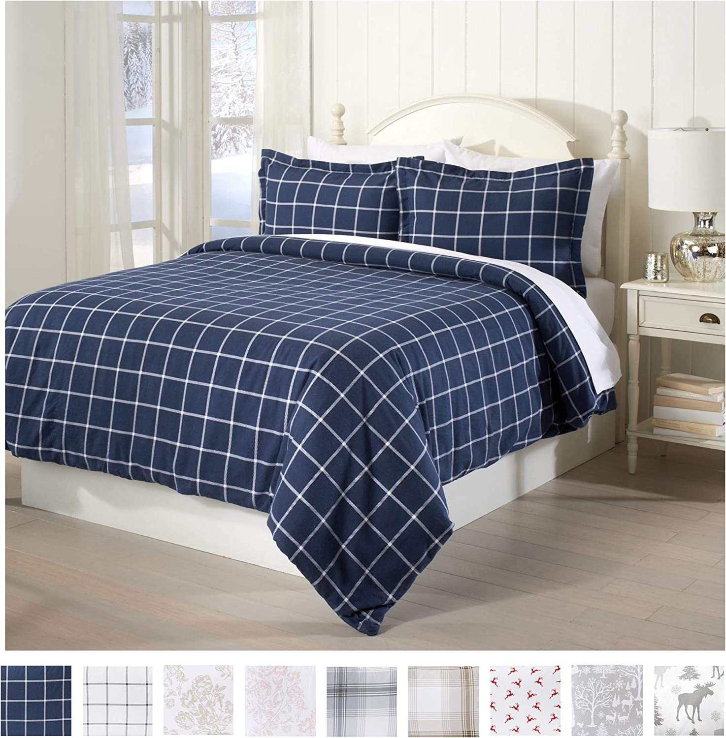 Amazon Com Great Bay Home Extra Soft Printed Flannel Duvet Cover