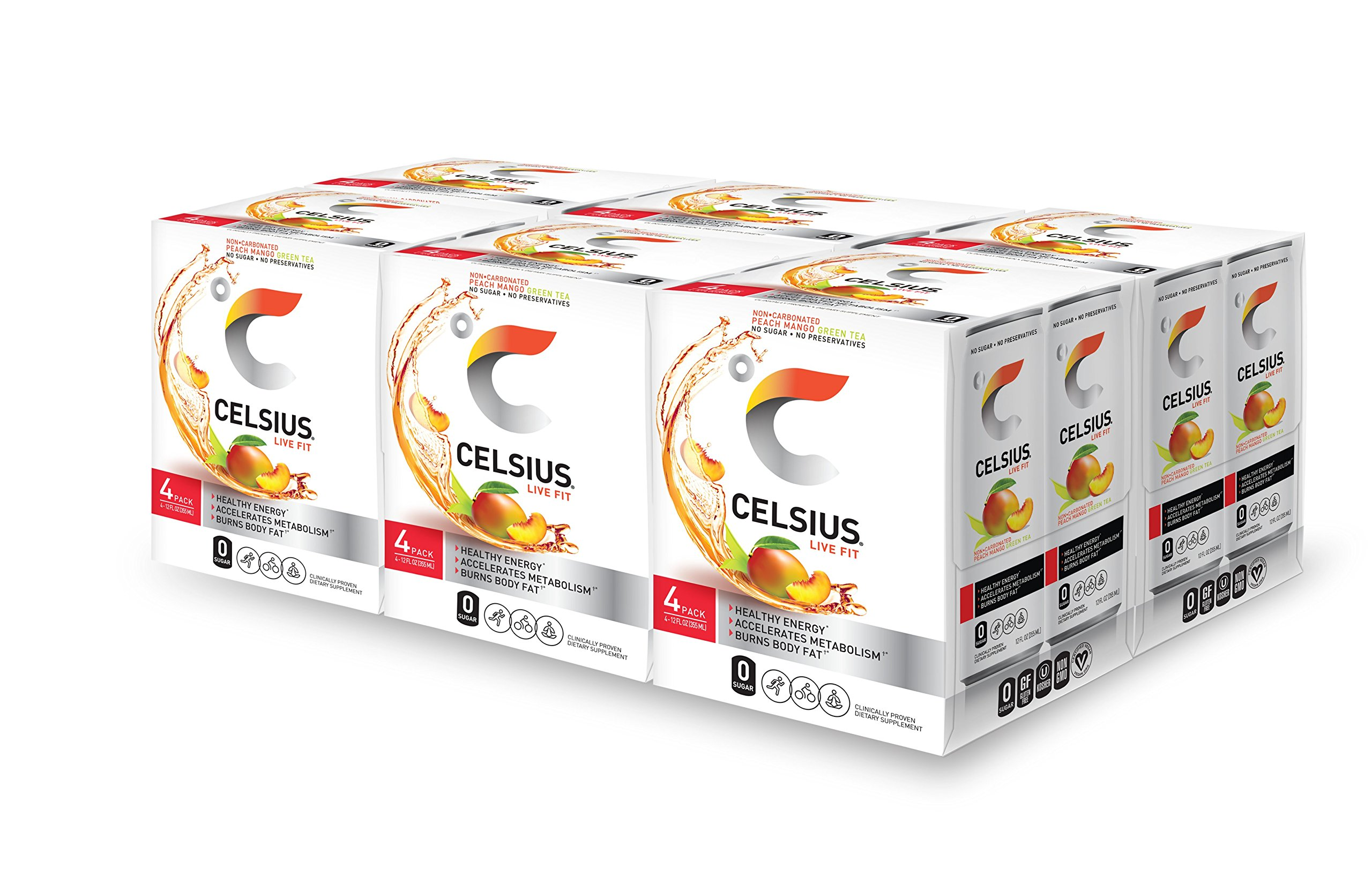 CELSIUS Peach Mango Green Tea Non-Carbonated Fitness Drink, ZERO Sugar, 12oz. Slim Can 4-Packs, 24 Cans Total