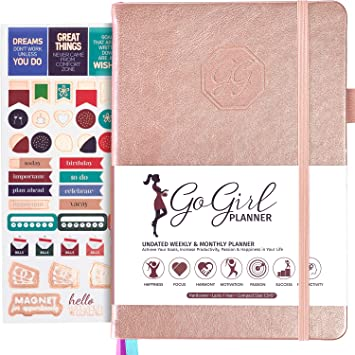Compact Size Weekly Planner Goals Journal /& Agenda to Improve Time Management Productivity /& Live Happier Lasts 1 Year Start Anytime Hot Pink GoGirl Planner and Organizer for Women Undated