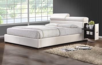 coaster 300379q maxine queen storage bed white leatherette upholstery - Queen White Bed Frame