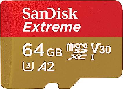 SanDisk Extreme - Tarjeta de memoria microSDXC de 64 GB con adaptador SD, A2, hasta 160 MB/s, Class 10, U3 y V30