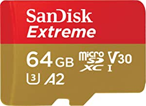 Sandisk Extreme 64GB microSD UHS-I Card with Adapter - 160MB/s U3 A2 - SDSQXA2-064G-GN6MA, Black