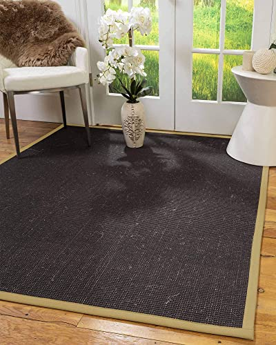NaturalAreaRugs 100 , Natural Fiber Handmade Vida, Wool Sisal Rug, 12 x 15 Sage Border
