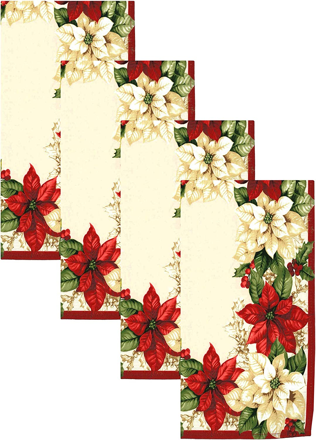 """Elrene Home Fashions Red and White Poinsettia Christmas Holiday Cloth Dinner Napkin Set of 4, 17"""" x 17"""", Multi"""