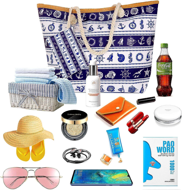 Grandes Fourre-Tout Toile pour Shopping//Plage//Pique-nique//Voyage Caf/é Joeyer Sac de Plage Vacances Avec Zip