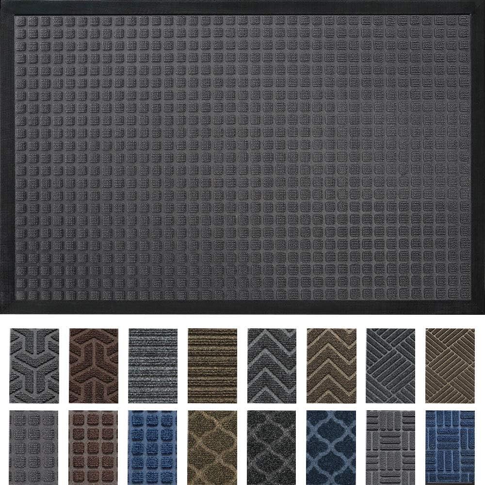 DEXI Durable Indoor Outdoor Door Mat, 60x36 Heavy Duty Rubber Doormat, Waterproof, Esay Clean, Low-Profile Mats for Entry, Garage, Patio, High Traffic Areas, Grey