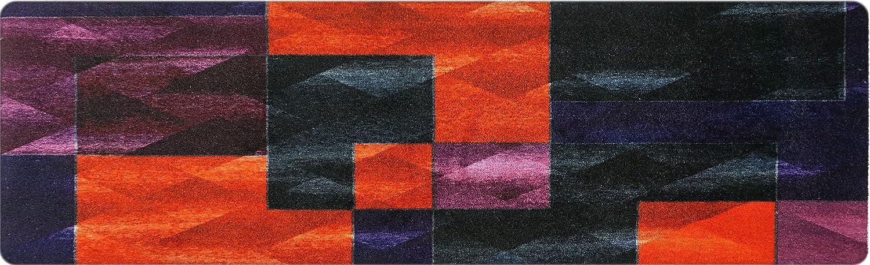 Hochwertiger Designer Teppich für Wohnzimmer, Kinderzimmer, Flur, Bad, Innen und Außen-Bereich   Rutschfester und waschbarer Teppich-Läufer – VIOLETT SCHWARZ ORANGE 80 x 250 cm